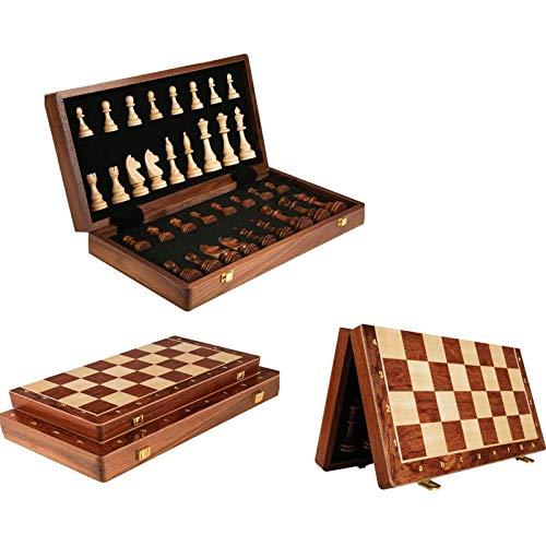 MIAOXIAO Juego De ajedrez De Madera Hechas a Mano ajedrez Plegable Magnético Junta Plegable De Calidad con Piezas De ajedrez Cómodas para Juegos De ajedrez al Aire Libre,45x45cm