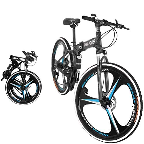 XNovem 26in Folding Mountain Bike 21 Speed Full Suspension MTB Bikes for Adult Men and Women, Black