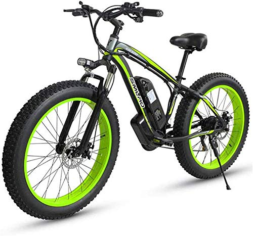 Electric Bike Electric Mountain Bike Electric Snow Bike, Electric Mountain Bike, 500W Motor, 26X4 Inch Fat Tire Ebike, 48V 15AH Battery 27-Speed Adults Bicycle - for All Terrain Lithium Battery Beach