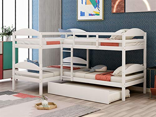 L-Shaped Bunk Beds Twin Over Twin Size Wood Frame with Safety Guard Rails and Built-in Ladder for Kids/Teens,Heavy Duty Bunk Bed with Trundle for Boys,No Box Spring Required,Ship from USA Warehouse