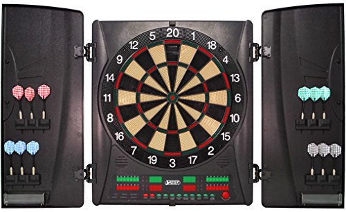 Best Sporting elektronische Dartscheibe Wembley Kabinett, Turnier LED Dartboard mit Netzteil und Dartpfeilen (Dartscheibe mit 12 Pfeilen)