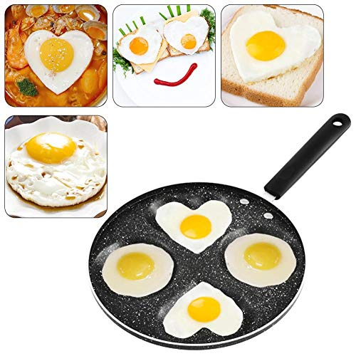 Sartén para huevo frito Sartén para huevo 4 tazas en forma de corazón Olla de aluminio para huevo frito antiadherente Con diseño de mango antiescaldado Ecológico