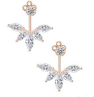 18K White Gold Plated Clear Crystal Leaf Feather Ear Jacket Earrings Back Ear Cuffs Stud Earring