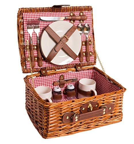 eGenot LYP1593RED picknickmand picknick mand wilgenmand wilgenhout bestek keramiek roestvrij staal voor 2 personen honingkleur Bavaria Bayern rood 32 (L) x 25 (B) x 15 cm (H)