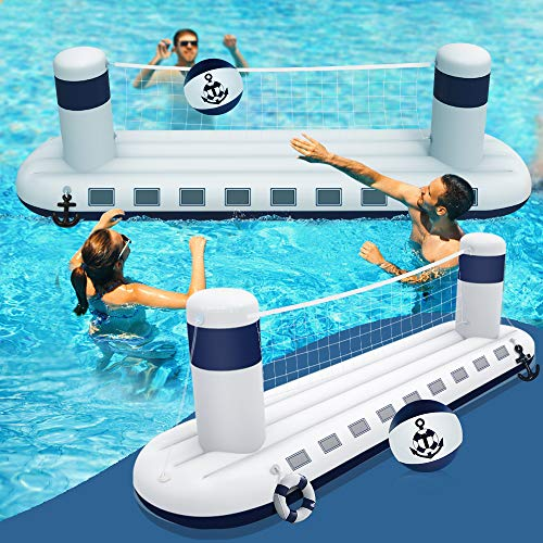 heytech Inflatable Pool Game Set Volleyball Game with 1 Ball, Inflatable Float Steamship Large Size for Kids and Adults Swimming Game Toy, Floating Summer Floaties