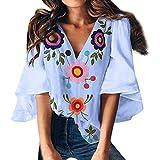 Amlaiworld Women Summer Tee Tops Hawaiian Shirt Fashion V-Neck Print Top Trumpet Sleeve T-Shirt Vintage Chiffon Blouse Shirt Blue