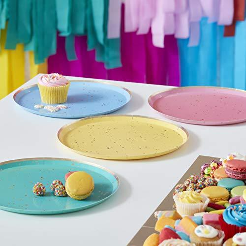 Ginger Ray Gold Flecked Brights Rainbow - Platos de fiesta (8 unidades, por paquete)