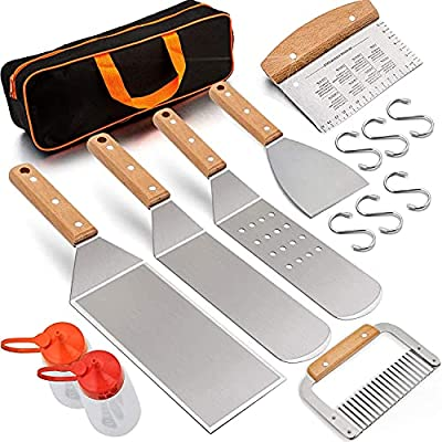 Leonyo Griddle Accessories Set of 9, Heavy Duty Stainless Steel Grill Griddle Metal Spatula for Cast Iron Flat Top Teppanyaki Hibachi BBQ Outdoor Cooking, Carry Case, Professional Chef Gift