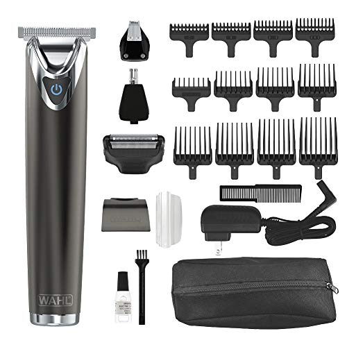 Wahl Stainless Steel Lithium Ion 2.0+ Slate Beard Trimmer for Men - Electric Shaver, Nose Ear Trimmer, Rechargeable All in One Men s Grooming Kit - Model 9864