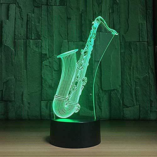 Luces de noche LED para el hogar saxofón luces USB 3D 7 colores luces de dormitorio 3D decoración de atmósfera de energía USB regalos de chico de música