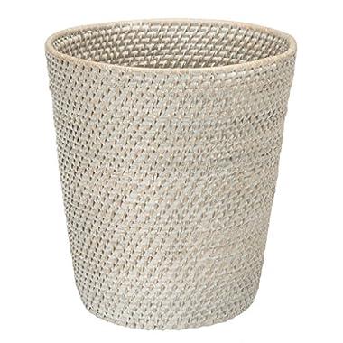 KOUBOO 1030041 Round Rattan White Wash Waste Basket, 10.25  x 10.25  x 11