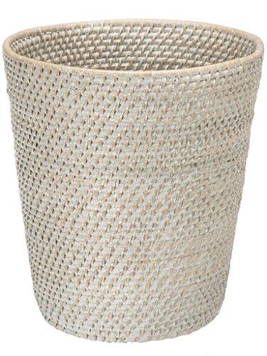 KOUBOO 1030041 Round Rattan White Wash Waste Basket 1025 x 1025 x 11