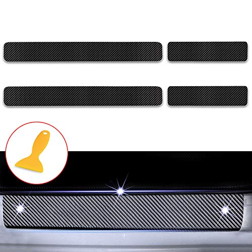 for Honda Accord Civic CR-V CR-Z FIT HR-V Odyssey Pilot Ridgeline Door Sill Protector, Carbon Fiber Scuff Plate Covers, Car Kick Plate Guard, Entry Threshold Stickers Black 4Pcs