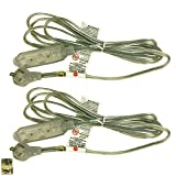 Royal Designs CO-9001-SL-8-2 Series Flat Plug Extension Cord for Indoor & Outdoor, 8 ft Long, Silver, 6 Outlet Prong Grounded Wire UL Listed, Set of 2, 8', 16
