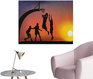 Anzhutwelve Teen Room Painting Post Boys Playing Basketball at Sunset Horizon Sky with Dramatic Scenery Funny Poster Dark Coral Black Yellow W32 xL24