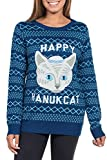 Tipsy Elves Women's Blue Ugly Hanukkah Sweater - Happy Hanucat Pullover Size Medium