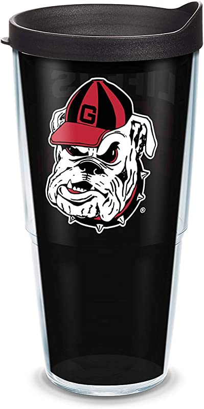 Tervis 1305849 Georgia Bulldogs Life Is Good Insulated Tumbler With Wrap And Black Lid 24oz Clear