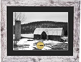 CreativePF [810-11x14wbn] Eco-Barn Wood Finish Frame with Black Mat to Hold 8x10-inch Media, Includes Easel with Installed Sawtooth Hanger