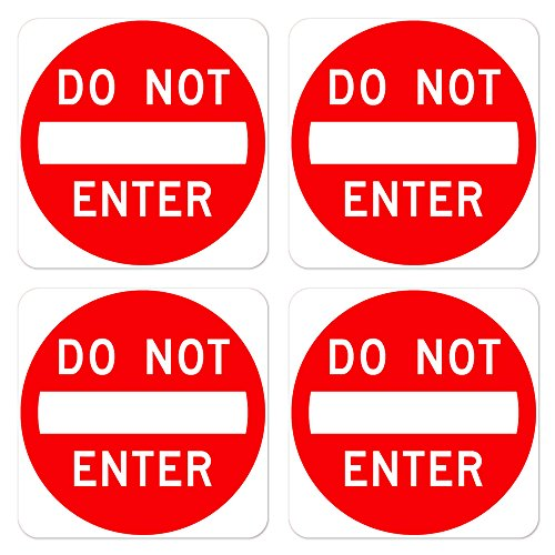 dealzEpic - No Entry/Do Not Enter Sign | Self Adhesive Vinyl Decal Sticker | Pack of 4 Pcs
