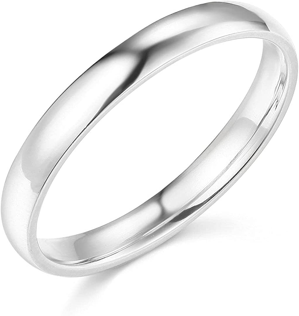 14k Yellow OR White Gold 3mm SOLID Plain Wedding Band
