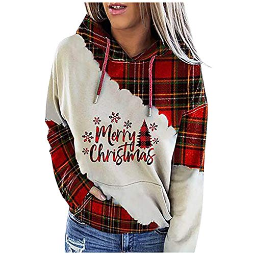 Lozeny Women Christmas Snowman Sweatshirts Hoodies Colorblock Drawstring Hooded Sweaters Long Sleeve Pullover Shirts Tops