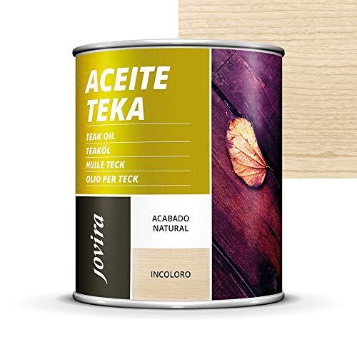 ACEITE TEKA MUEBLES jardín, sillas, mesas, tumbonas, Protección, restauración y cuidado de la madera Teca en intemperie exterior (750 ml, INCOLORO)