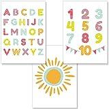 PREMYO Bilder Kinderzimmer Deko Mädchen Jungen - Alphabet
