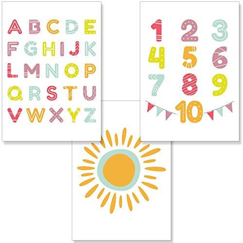 PREMYO Quadri per Camera Bambini - Set di Poster Alfabeto ABC Sole - Stampe da Parete Decorazione Cameretta Neonato A4