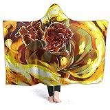 Microfiber Luxury Hooded Blanket, Breathable King Size Bed Blanket, Kimetsu No Yaiba Tanjiro Kamado,Bed Throws forFall,Men,Bed