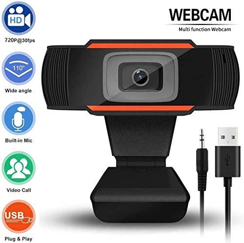 POMILE 720P Cámara Web empresarial USB HD con micrófono Incorporado Cámara Ajustable con Enfoque de reducción de Ruido para Oficina Comercial, videoconferencia, Trabajo Remoto (P3, Orange)