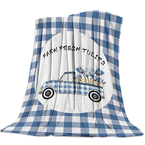 Mantas Para Manta Blanket Manta Farm Fresh Tulips y Truck Blue Plaid Mantas 125X100CM