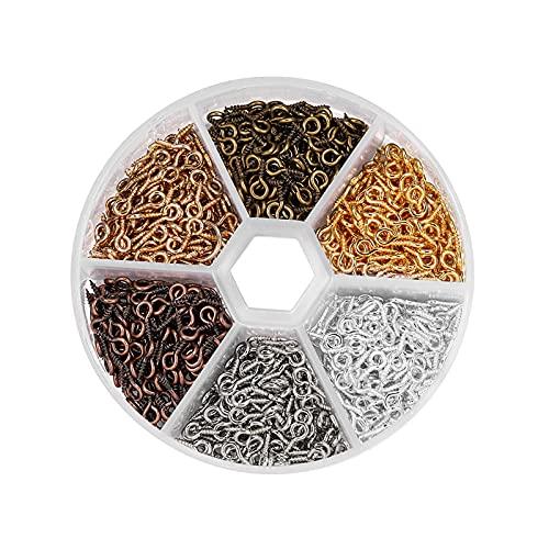 Ojos de seguridad de plástico, 900 ganchos de ojo roscados para manualidades, joyería, 6 colores