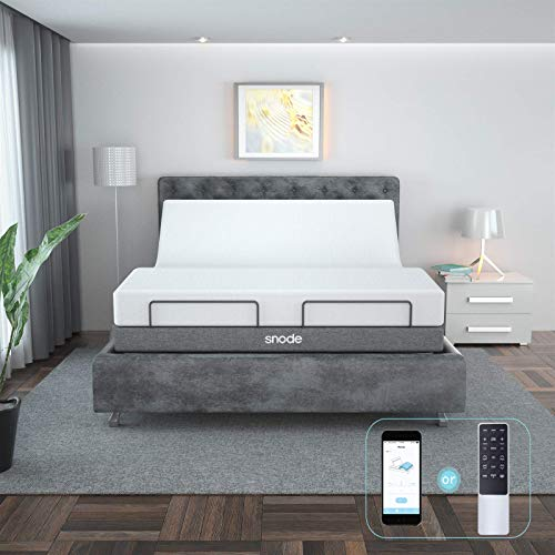 SNODE Adjustable Bed Base Frame (Queen Size) - with Massage, Bluetooth Compatible with App, Wireless Remote, Under Lighting, Dual USB Ports, Head and Foot Incline, Easy Assembly