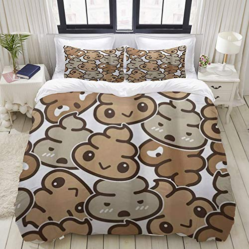 Yaoniii bedding - Duvet Cover Set, Poo,3-Piece Comforter Cover Set 220 x 240 cm +2 Pillowcases 50 * 80cm