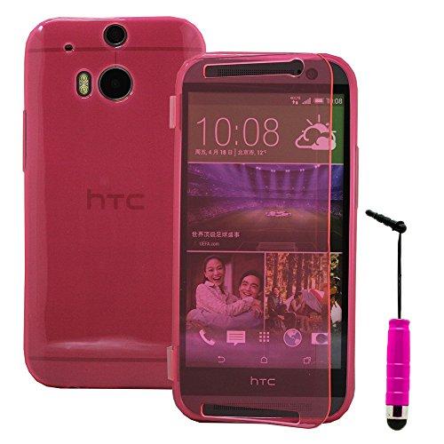 Annart Schutzhülle aus Silikongel für HTC One (M8)/One M8s/Dual Sim/M8 Eye + Mini-Eingabestift, Rosa