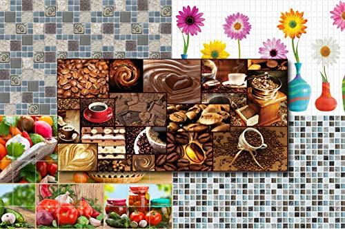 3D Wandpaneele Restposten! - große Auswahl von stabilen und pflegeleichten Mosaik PVC Platten - zur Wandverkleidung z. B. als Küchenrückwand - 1 Platte (WHITE MOSAIC)