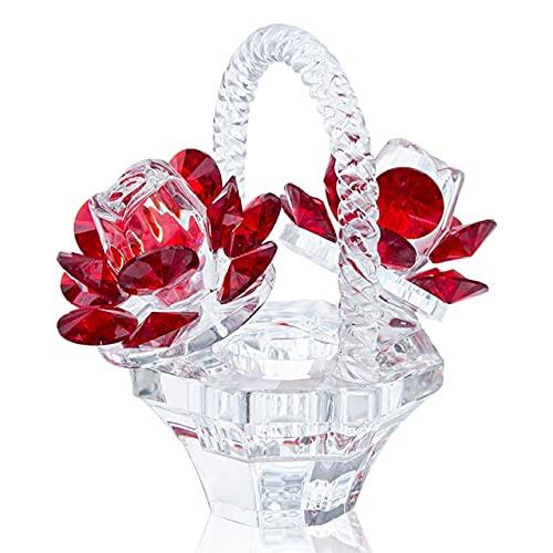 zhongzhichengcheng Regalo Figurines 12 Estilos De Cristal Rojo Rosa Flor Pisapapeles Coleccionables Sueños Adorno Estatuilla Hogar Boda Decoración Recuerdo