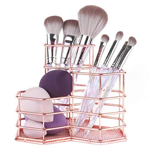 ANNE'S GIVERNY Makeup Brush Holder Metal Organizer Golden Rose Cosmetic Storage Beauty Sponges Blender holder Display