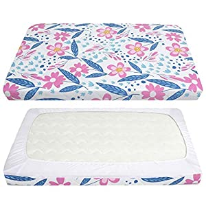 TILLYOU Cloudy Soft Pack and Play Sheet Quilted, Breathable Thick Play Yard Playpen Sheets for Girls, 39''×27''×5'' Fit Mini/Portable Crib Mattress Pad Pack N Play Mattress Pad, Floral