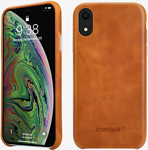 JISONCASE iPhone XR Leather Case, iPhone XR Cover Slim Shell Snap-on Cases with Protective Silver Side Buttons Compatible Apple iPhone XR 6.1'', Brown JS-IXR-01A20