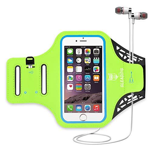 Brazalete Deportivo para Correr de GLEADING Resistente al Agua- Funda de 5.4 Pulgadas para iPhone 8/7/6/SE, Samsung S7/S6, Huawei – portallaves, Protector de Pantalla para Ciclismo, Correr