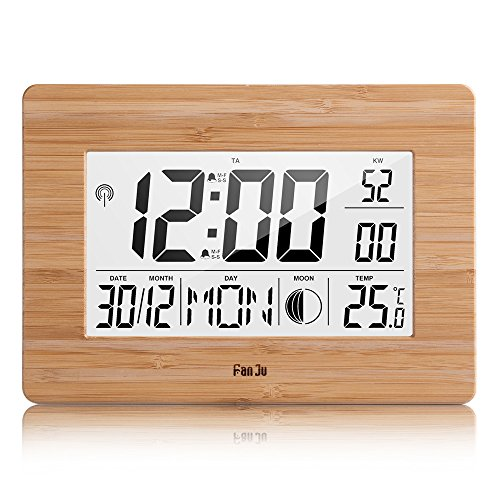 FanJu FJ3530 Digital Wecker Funk Batteriebetriebener Groß Tischuhr mit Extra Großem Display | Innentemperatur | Mondphase | Schlummerfunktion | Calendar Wecker für Zu Hause.