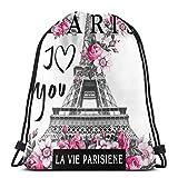 N/B Paris Torre Eiffel con diseño de lema para mujer y niña, con cordón,...