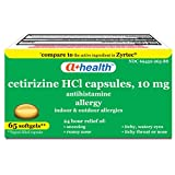 A+Health Cetirizine Hcl 10 Mg Softgels, Antihistamine for 24 Hour Allergy Relief, Made in USA, 65 Count