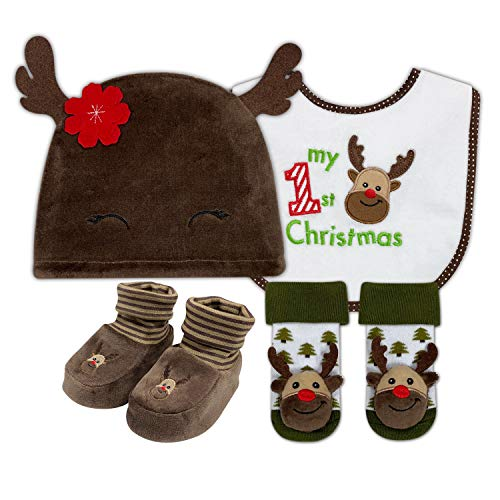 PUPPET 4-Pack Baby Boy Christmas Outfits (hat, bib, Booties, Rattle Socks), Lovely Gift Set for Baby 0-6Months (Reindeer)