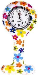 Moda Floral Clip de la Enfermera de Tipo T Fob de la Broche de la Jalea del silicón del Reloj Colgante de Bolsillo de la S...