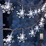 Twinkle Star 100 LED Christmas Snowflake String Lights, 49 FT Plug in Fairy Light Waterproof, Extendable for Indoor Outdoor, Holiday Wedding Party, Xmas Tree, New Year, Garden Decorations, Cool White