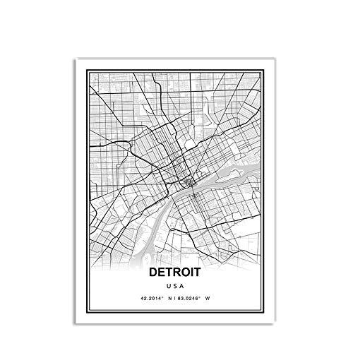 Leinwand Bild,Amerika Detroit Stadtplan Einfach Schwarz Weiß Minimalistisch Moderne Kunst Poster Wandbild Malerei Büro Wohnen Zuhause Schlafzimmer Raumdekoration Nordischer Stil, 60X80Cm / 23,6 * 3