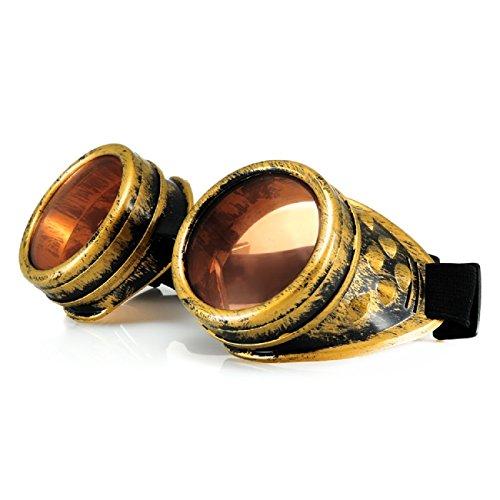 4sold (TM Steampunk Negro cibernético Gafas Rave Victorian gótico de la Vendimia Gusta Gafas de Sol (Gafas de Oro)