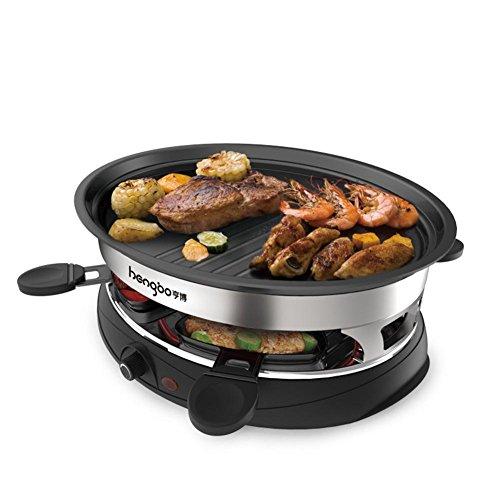 FOOD Art Électrique Grill Teppanyaki Double Couches Plaque de Plaque chauffante Barbecue Non-bâton avec température réglable 1000W pour 4-5 Personnes [4 * Spatules]
